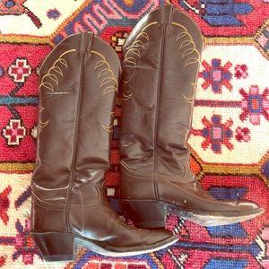 Tony Lama men's tall heeled leather cowboy boots